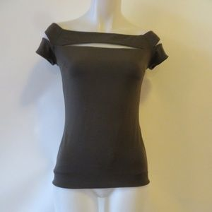 BAILEY 44 MESH CUTOUT SHORT SLEEVE TOP SZ S *